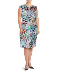 Adrianna Papell - Plus Multicolored Leaf-print Sheath Dress - Lyst