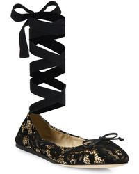 Saks Fifth Avenue - Lace Ankle-wrap Ballet Flats - Lyst
