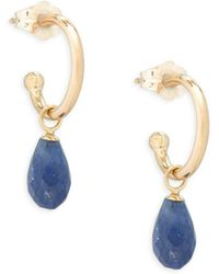 Saks Fifth Avenue - Sapphire And 14k Gold Drop Earrings - Lyst