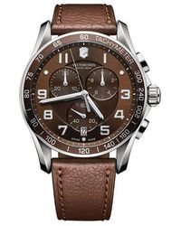 Victorinox - Mens Classic Xls Stainless Steel And Leather Chronograph Watch - Lyst