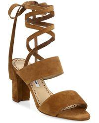Manolo Blahnik - Khandala Suede Ankle-wrap Block Heel Sandals - Lyst
