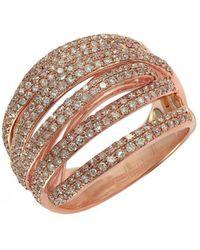 Effy - 14k Rose Gold & Diamond Multi Row Band Ring - Lyst