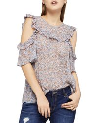 BCBGeneration - Carved Blooms Cold Shoulder Top - Lyst