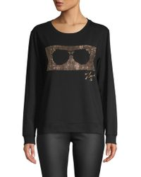 Karl Lagerfeld - Embellished Sunglasses Graphic Pullover - Lyst