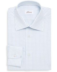 Brioni - Regular Fit Windowpane Cotton Dress Shirt - Lyst