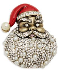Heidi Daus - Faux Pearl And Crystal Pin - Lyst