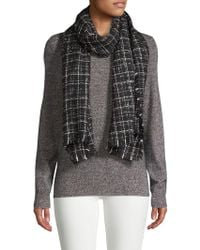 Karl Lagerfeld - Plaid Fringed Scarf - Lyst