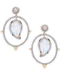 Freida Rothman - Crystal And Sterling Silver Paisley Drop Earrings - Lyst