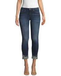 Miss Me - Jeweled Bottom Cropped Jeans - Lyst