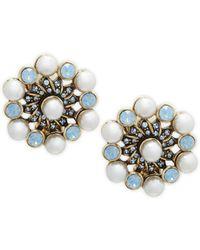 Heidi Daus - Faux-pearl Crystal Pinwheel Stud Earrings - Lyst