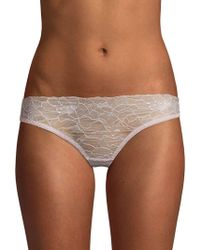 Samantha Chang - Embroidered Lace Thong - Lyst