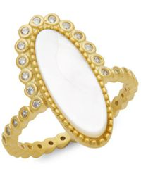 Freida Rothman - Mother-of-pearl Oval Crystal Beaded Ring - Lyst