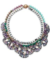 Tataborello Beads & Crystal-studded Fan Necklace