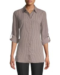 Ellen Tracy - Printed Roll-sleeve Button-down Shirt - Lyst