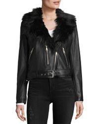 Bagatelle - Faux Fur Collared Moto Jacket - Lyst