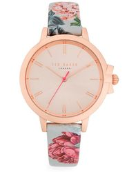 fac81157d Ted Baker - Floral Analog Watch - Lyst