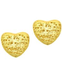 Saks Fifth Avenue - 14k Yellow Textured Heart Post Earrings - Lyst