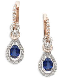 Effy - 14k White Rose Gold Diamonds & Sapphire Knot Drop Earrings - Lyst