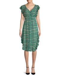 Plenty by Tracy Reese - Ruffled Chequered Dress - Lyst