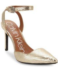 Calvin Klein - Rafaella Shiny Snake Print Ankle-strap Pumps - Lyst
