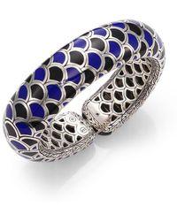 John Hardy - Naga Black Sapphire, Enamel & Sterling Silver Slim Flex Cuff Bracelet - Lyst