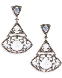 Bavna - Rainbow Moonstone & Sterling Silver Drop Earrings - Lyst