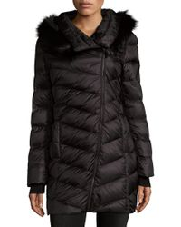 French Connection - Quilted Faux-fur Trim Hooded Coat - Lyst