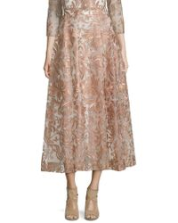 Marchesa notte - Embroidered Tea-length Skirt - Lyst