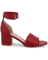 7299b37529 Valentino - Rosso Studded Leather Block-heel Sandals - Lyst