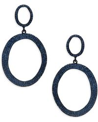Kenneth Jay Lane - Pavé Oval Double Drop Earrings - Lyst