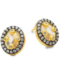 Freida Rothman - Small Mirror Crystal And Sterling Silver Stud Earrings - Lyst
