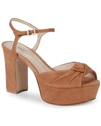 da8b3b08758 Schutz - Suely Suede Knotted Platform Slingback Sandals - Lyst