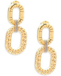 Saks Fifth Avenue - Made In Italy 14k Yellow Gold Double Oval Dangle Earrings - Lyst