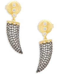 Freida Rothman - Pavé Horn Drop Earrings - Lyst