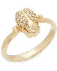 Temple St. Clair - Diamond And 18k Yellow Gold Scarab Ring - Lyst