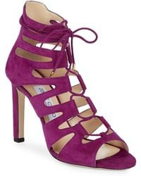 Jimmy Choo - Hitch Suede Lace-up Sandals - Lyst