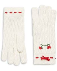 RED Valentino - Waffle Knit Floral Gloves - Lyst