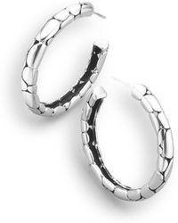 """John Hardy - Sterling Silver Textured Hoop Earrings/1.5"""" - Lyst"""