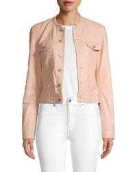 Lamarque - Mockneck Leather Jacket - Lyst