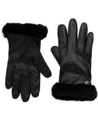 UGG - Leather Shearling-trimmed Gloves - Lyst