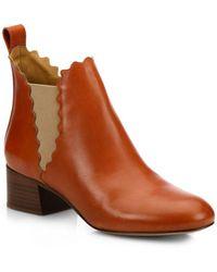 Chloé - Lauren Leather Ankle Boots - Lyst