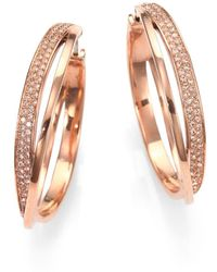Michael Kors - Pavé Interlocking Hoop Earrings - Lyst