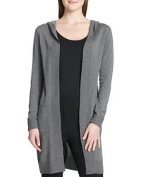 Calvin Klein - Long Hooded Cardigan - Lyst