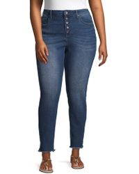 Max Studio - Plus High-rise Frayed Button Skinny Jeans - Lyst
