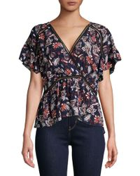 Ella Moss - Crossover Printed Blouse - Lyst
