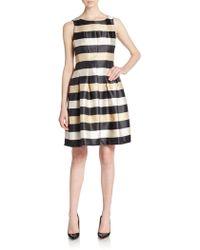 Chetta B - Pleated Stripe A-line Dress - Lyst
