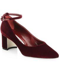 Manolo Blahnik - Listony Strap 50 Velvet Block Heel Court Shoes - Lyst