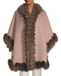 Belle Fare - Dyed Fox Fur-trim Wool Cape - Lyst