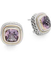 Effy - Amethyst, 18k Yellow Gold & Sterling Silver Earrings - Lyst