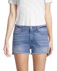 7 For All Mankind - Cut Off Denim Shorts - Lyst